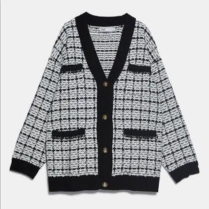 ZARA Oversized Tweed Cardigan- Blogger Favorite